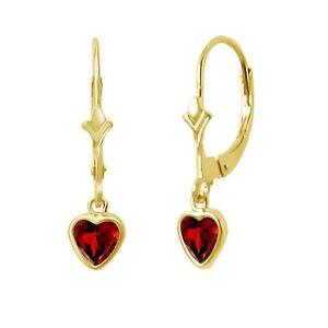 REAL 14K Yellow Gold Heart Red Birthstone Leverback Earrings Garnet stone
