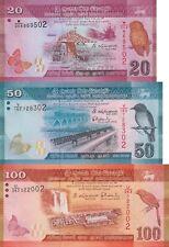 Sri Lanka 3 Note Set: 20, 50 & 100 Rupees (2015.02.04) - p123c,124c & p125d UNC