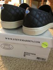 Steve Madden Ecentrcq Black Quilted Slip-on Sneakers Flats Sz 9