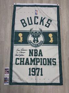 Kareem Abdul-Jabbar O. Robertson Signed JSA Milwaukee Bucks Championship Banner