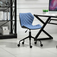 HOMCOM Home Office Swivel Desk Chair Nylon Wheels Adjustable Height Linen Blue