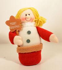 "7"" Merry Christmas Angel Plush Stuffed Beanie Bag Doll Figure Girl Yarn Hair"
