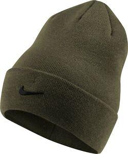 Nike Youth Metal Swoosh Cuff Beanie Winter Knit Hat Warm Cap Black Christmas