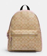 Coach Charlie Khaki Signature Blossom Leather Large Backpack Bag F58314