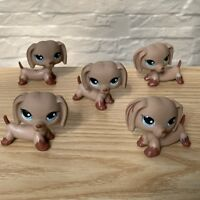 5Pcs Littlest Pet Shop Lot LPS Puppy Dachshund Dog Blue Eyes animal figure Toy