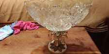 Cut Glass Bowl With Brass Pedestal On Marble Base, Prisms.  Crystal Bowl Compote