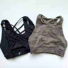 Bundle of Two Glyder High Neck Strappy Sports Bras Size Small Black Green
