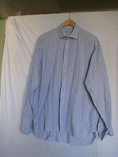 Blazer bianco, blu + rosso a righe uomo Camicia in cotone, 16.1/2 in/42 cm