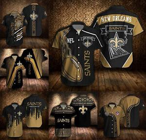 New Orleans Saints Men's Hawaiian Shirt Summer Short Sleeve Button-Down Shirt