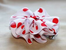 """White w/ Red Lg. Dots Round Hair Bow on a 3"""" bow clip barrette new"""
