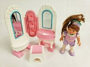 Fisher Price Dollhouse Dream House Girl Princess Vanity Mirrors Stool Pink