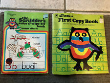 "Vintage Lot 1974 & 79 ""The Scribbler's First Copy Book + Color & Wipe Off Book"""