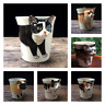 New 3D Cat Ceramic Shaped Teddy Calico Siamese Japanese Bobtail Tuxedo Cat Cup