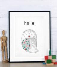 Poster, Housewarming decor, Owl, Scandinavian design, Scandinavian poster, Hello