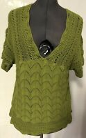 AXCESS by Liz Claiborne Green Crocheted V Neck Short Sleeve Top Size Large L@@K!