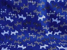 Cheap!  Remnant Navy Blue Scottie Dog Pet Polycotton Fabric 35 cm x 112 cm