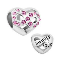 PINK CRYSTAL INFINITY LOVE CHARM BEAD
