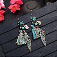 Women's Retro Bohemia Tassel Leaf Drop Dangle Hook Earrings Jewelry Gift Fashion
