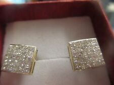 14K YELLOW GOLD STUD EARRINGS 50 SMALL DIAMONDS; 2.25 TOTAL CARAT WEIGHT