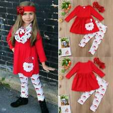 Christmas Toddler Kids Baby Girl Santa Dress Top+Pant Legging Outfit  size 4-5