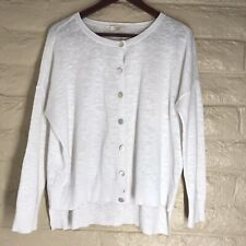 Eileen Fisher White Linen Cotton Blend Button Up Cardigan Sweater Size PM