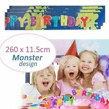 "Birthday Party Colorful Banners, ""FUN MONSTER DESIGN"" Boy Girl Banner - 3 Pack"