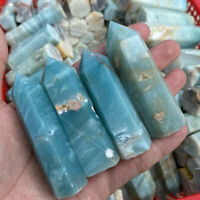 1pc Natural Blue Carribean Calcite Tower Point Quartz Crystal Wand Healing Stone