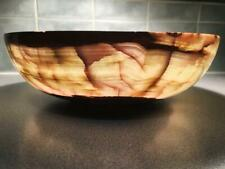 """Large 30 cm Natural Geo Multicolored Decorative Handcrafted Onyx Bowl 11.5"""""""