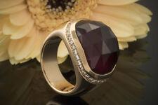 Schmuck Massiver Rotgold Ring mit Granat facettiert und Brillanten in 750er Gold