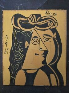 PABLO PICASSO     Beautiful Oil Painting on old rigid cardboard.