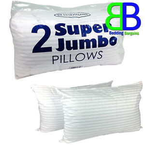 2x Extra Large Jumbo Pillows Hotel Quality Striped DELUXE Soft PILLOWS - Pack 2