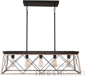 5-Light Industrial Hanging Pool Table Lights Fixture Billiard Pendant Lamp Bar