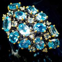 Blue Topaz Ring Silver 925 Sterling Vintage7x5mm Size 5.75 /SRT18-258-2