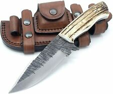 Handmade Deer Antler Hunting Skinner Stag Horn Handle Knife Fixed Blade