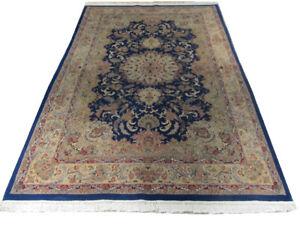 6' x 9' Super Fine Lightly Used Wool & Silk Handmade Blue Traditional Rug