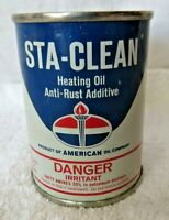 NOS FULL FROM ORIG BOX 1965 Vintage AMERICAN OIL Old Sta-Clean Oil Tin Can