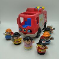 Fisher Price Little People Firetruck Lights Sounds 2 Firemen n 5 More Free Ship