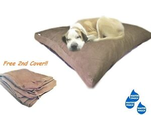 "40""x35"" Shredded Mixed Memory Foam Pet Dog Waterproof Pillow Brown Suede Bed LRG"