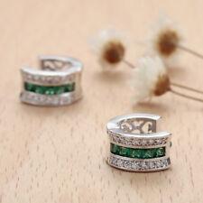 925 Silver Filled Emerald Quartz Topaz Gemstone Stud Earring Jewelry For Women
