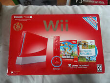 NINTENDO WII 25th ANNIVERSARY Super Mario RED CONSOLE Bundle IN BOX Tested !