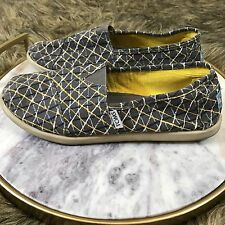Toms Sz Y6 Women's 8 Gray and Yellow Cross Hatch Pattern Slip On Loafer Shoes