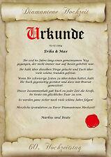 Diamantene Hochzeit Urkunde Geschenk zum 60. Hochzeitstag Pergament div. Motive