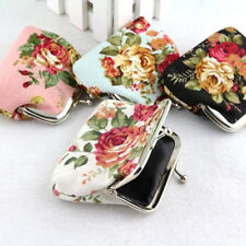Women Wallet Flower Small Coin Change Purse Hasp Canvas Clutch Small Wallet Bags