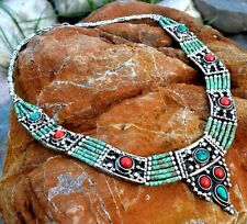 Nepal Tibetan Bib Necklace Green Turquoise Nepalese Ethnic Coral Jewelry Boho