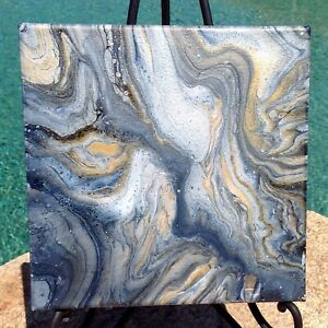 Original Abstract Art 10 x 10 Silver and Black Acrylic Pour Painting Resin New