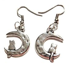 HYPOALLERGENIC SILVER CAT IN MOON EARRINGS luna crescent kitty nyanko pendant M4