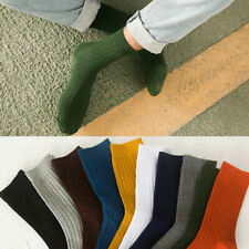 Men Wild Soft Cotton Rich Elastic Long Business Dress Socks Lot Striped Solid US