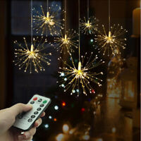 Hanging Firework LED Fairy String Light Christmas Party Decor 8Modes Remote Xmas