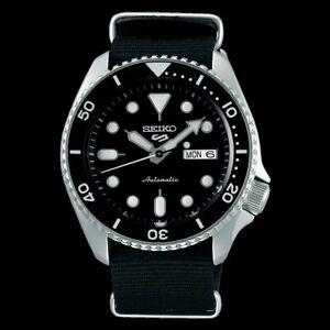 NEW Seiko 5 Sports 100M Automatic Men's Watch Black Bezel Dial Nylon Strap