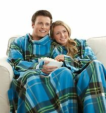 The Original Snuggie Super Soft Fleece Blanket With Sleeves & Pockets Blue Plaid